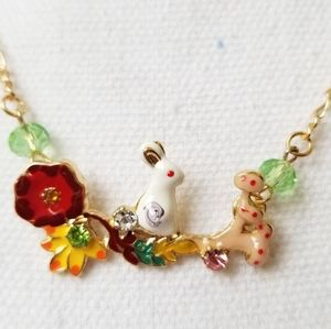 NWT - Bunny Floral Colorful Necklace
